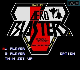 Title screen of the game Aero Blasters on Sega Megadrive