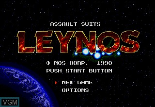 Title screen of the game Assault Suits Leynos on Sega Megadrive