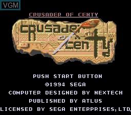 Title screen of the game Crusader of Centy on Sega Megadrive
