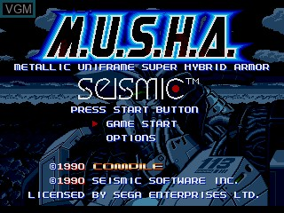 Title screen of the game M.U.S.H.A on Sega Megadrive