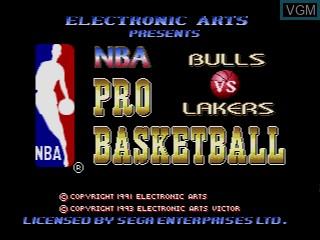 Title screen of the game NBA Pro Basketball - Bulls vs Lakers on Sega Megadrive