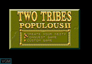 Title screen of the game Populous II - Two Tribes on Sega Megadrive