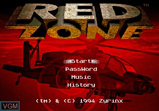 Title screen of the game Red Zone on Sega Megadrive