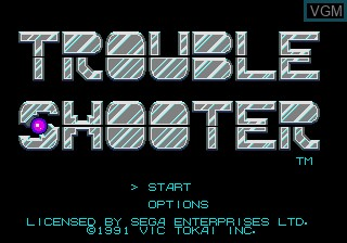 Title screen of the game Trouble Shooter on Sega Megadrive