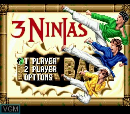 Title screen of the game 3 Ninjas Kick Back on Sega Megadrive