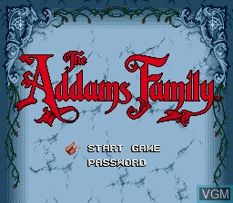 Title screen of the game Addams Family, The on Sega Megadrive