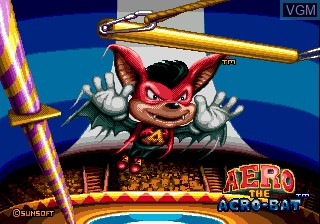 Title screen of the game Aero the Acro-Bat on Sega Megadrive