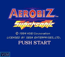 Title screen of the game Aerobiz Supersonic on Sega Megadrive