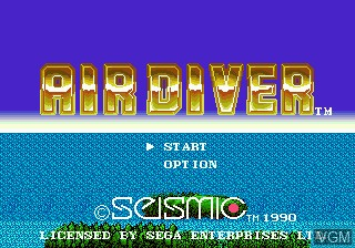 Title screen of the game Air Diver on Sega Megadrive