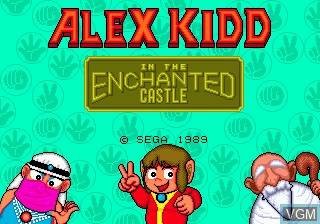 Title screen of the game Alex Kidd in the Enchanted Castle on Sega Megadrive