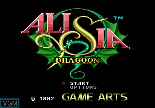 Title screen of the game Alisia Dragoon on Sega Megadrive