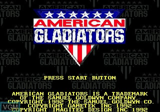 Title screen of the game American Gladiators on Sega Megadrive