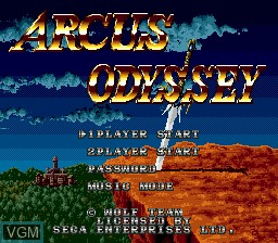 Title screen of the game Arcus Odyssey on Sega Megadrive