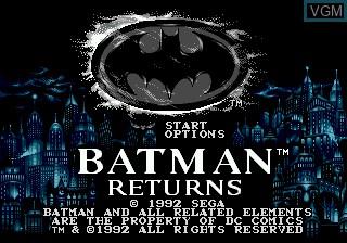 Title screen of the game Batman Returns on Sega Megadrive