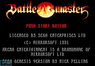 Title screen of the game Battlemaster on Sega Megadrive