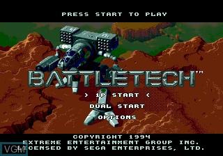 Title screen of the game Battletech on Sega Megadrive