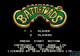 Title screen of the game Battletoads on Sega Megadrive