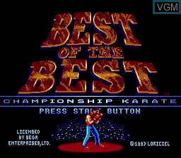 Title screen of the game Best of the Best - Championship Karate on Sega Megadrive