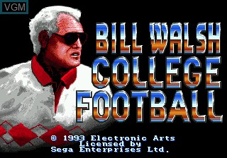 Title screen of the game Bill Walsh College Football on Sega Megadrive