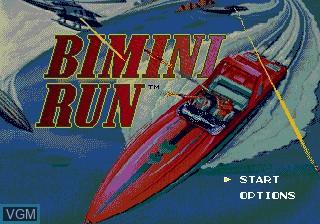 Title screen of the game Bimini Run on Sega Megadrive