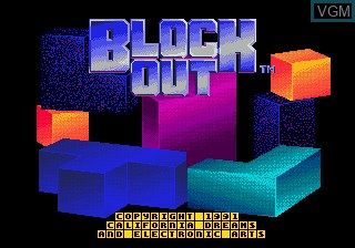 Title screen of the game Block Out on Sega Megadrive