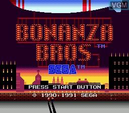 Title screen of the game Bonanza Bros. on Sega Megadrive