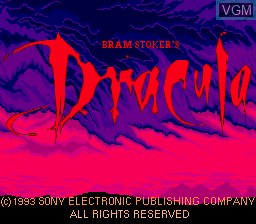 Title screen of the game Bram Stoker's Dracula on Sega Megadrive