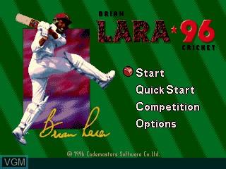 Title screen of the game Brian Lara Cricket 96 on Sega Megadrive
