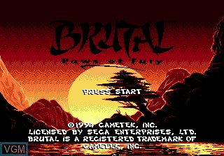 Title screen of the game Brutal - Paws of Fury on Sega Megadrive