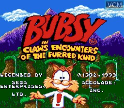 Title screen of the game Bubsy in Claws Encounters of the Furred Kind on Sega Megadrive
