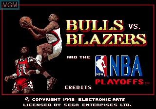 Title screen of the game Bulls vs Blazers and the NBA Playoffs on Sega Megadrive