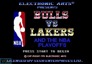 Title screen of the game Bulls vs Lakers and the NBA Playoffs on Sega Megadrive