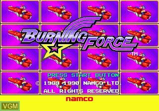 Title screen of the game Burning Force on Sega Megadrive