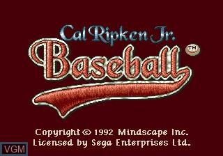Title screen of the game Cal Ripken Jr. Baseball on Sega Megadrive