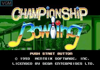 Title screen of the game Championship Bowling on Sega Megadrive