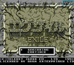Title screen of the game Exile on Sega Megadrive