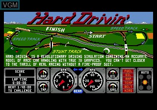 Title screen of the game Hard Drivin' on Sega Megadrive