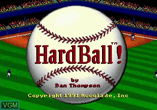 Title screen of the game HardBall! on Sega Megadrive
