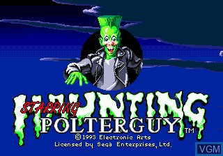 Title screen of the game Haunting Starring Polterguy on Sega Megadrive