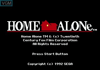 Title screen of the game Home Alone on Sega Megadrive