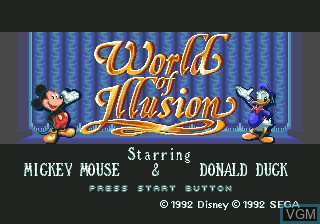 Title screen of the game World of Illusion Starring Mickey Mouse & Donald Duck on Sega Megadrive