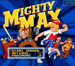 Title screen of the game Adventures of Mighty Max, The on Sega Megadrive