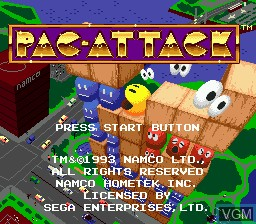 Title screen of the game Pac-Attack on Sega Megadrive