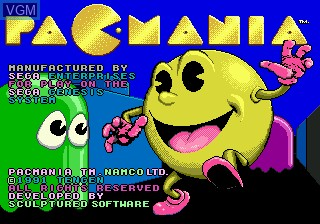 Title screen of the game Pac-Mania on Sega Megadrive