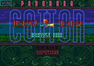 Title screen of the game Panorama Cotton on Sega Megadrive