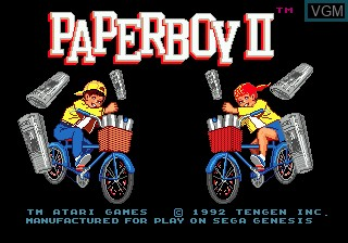 Title screen of the game Paperboy II on Sega Megadrive