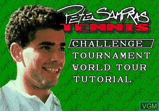 Title screen of the game Pete Sampras Tennis on Sega Megadrive