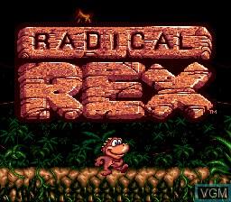 Title screen of the game Radical Rex on Sega Megadrive