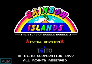Title screen of the game Rainbow Islands - The Story of Bubble Bobble 2 on Sega Megadrive