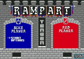 Title screen of the game Rampart on Sega Megadrive